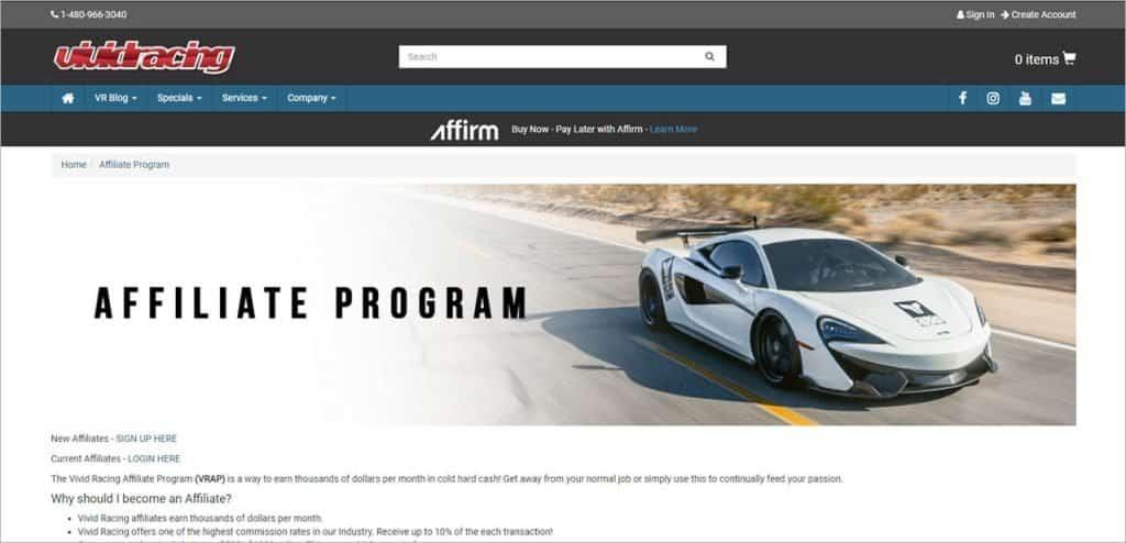 Vivid Racing affiliate program