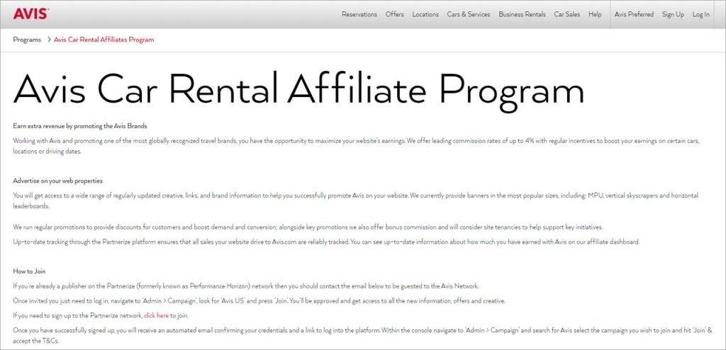 Avis Car Rental Affiliate Program