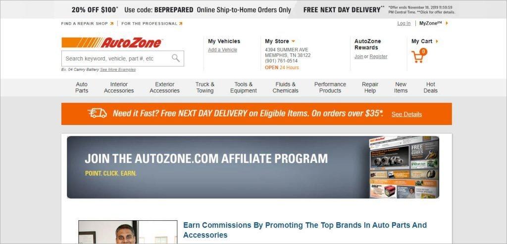 Auto Zone automotive affiliate program